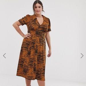Asos Tiger Print Collared Midi Dress